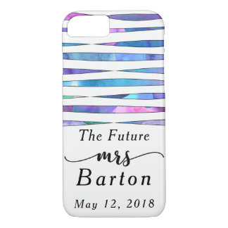 """The Future Mrs"" Typography Watercolor Streamers iPhone 8/7 Case"