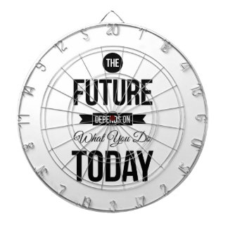 The Future Typography Quote White Dartboard With Darts