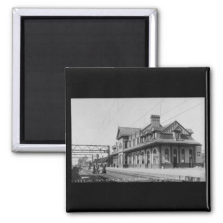 The G.T.R. Railroad Depot - Louis Pesha 2 Inch Square Magnet
