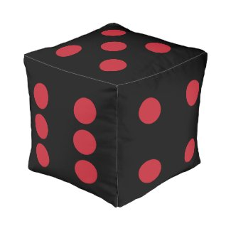 The Gambler DICE CHOOSE YOUR COLOR with Red Dots Cube Pouf