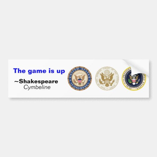 The game is up bumper sticker