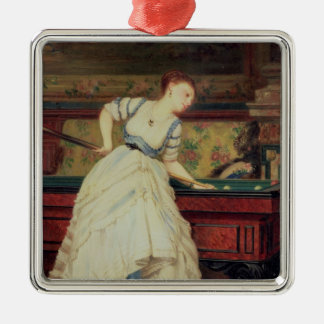 The Game of Billiards, 19th century Square Metal Christmas Ornament