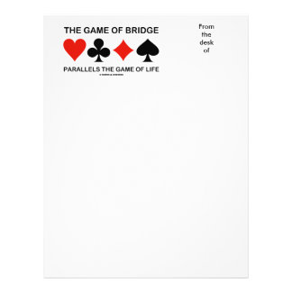 The Game Of Bridge Parallels The Game Of Life Letterhead