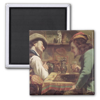The Game of Draughts, 1844 2 Inch Square Magnet