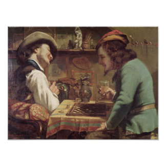 The Game of Draughts, 1844 Poster