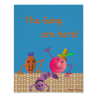 The Gang are Here ! Cartoon Poster