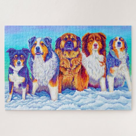 The Gang's All Here Five Dog Painting Puzzle