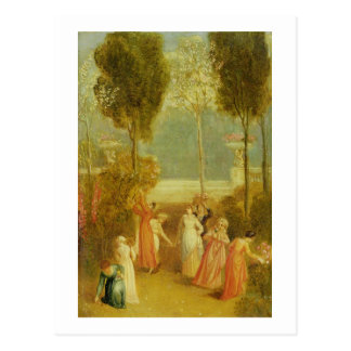 The Garden, c.1820 (oil on panel) Postcard