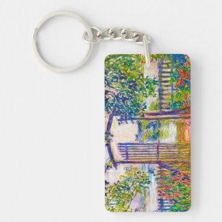 The Garden Gate at Vetheuil Claude Monet Double-Sided Rectangular Acrylic Keychain
