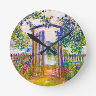 The Garden Gate at Vetheuil Claude Monet Round Clock