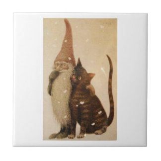THE GARDEN GNOME AND HIS PET CAT TILE