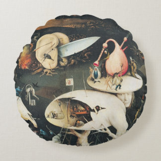 The Garden of Earthly Delights 2 Round Pillow