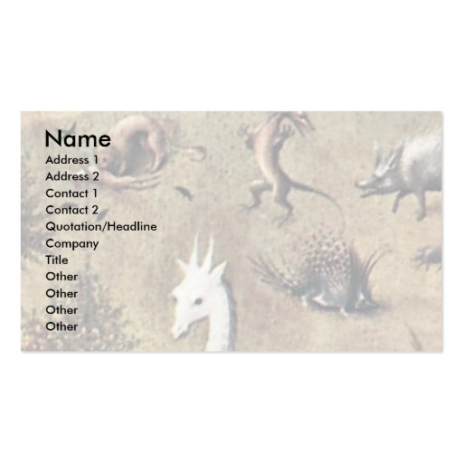 The Garden Of Earthly Delights: By Hieronymus Business Card Templates