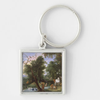 The Garden of Eden, 1659 Silver-Colored Square Keychain