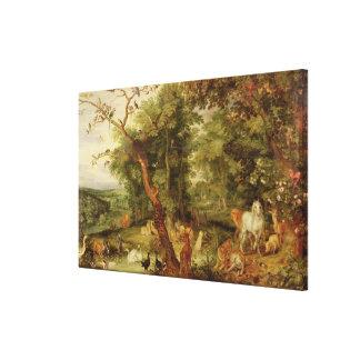 The Garden of Eden; in the background The Temptati Canvas Print