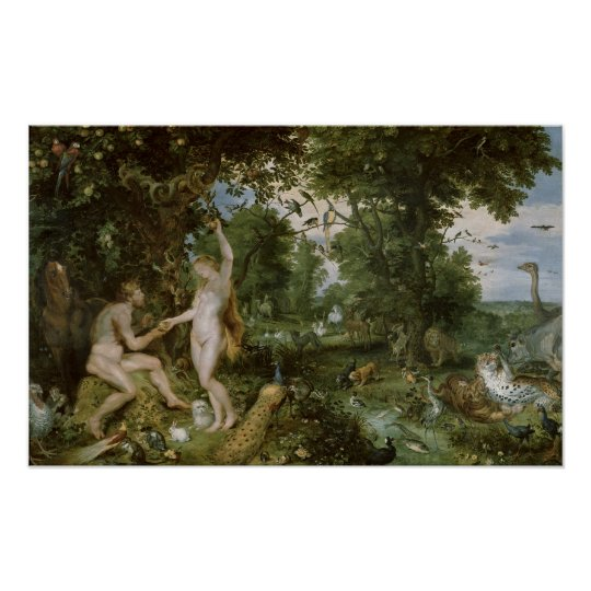 The Garden Of Eden With The Fall Of Man, C.1615 Poster