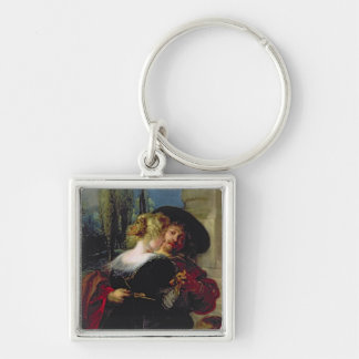 The Garden of Love, c.1630-32 Silver-Colored Square Keychain