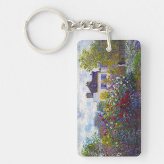 The Garden of Monet at Argenteuil Claude Monet Double-Sided Rectangular Acrylic Keychain