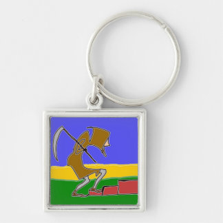 The Gardener Comes Home Silver-Colored Square Keychain