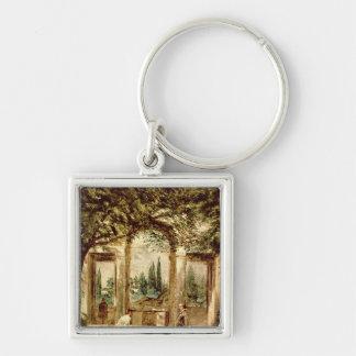 The Gardens of the Villa Medici in Rome Silver-Colored Square Keychain