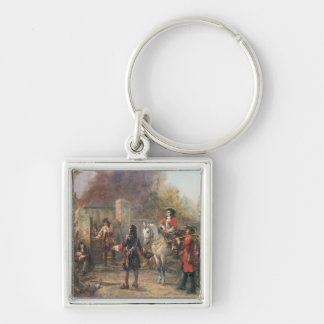 The Garrison of the Village Had At Last Surrendere Silver-Colored Square Keychain
