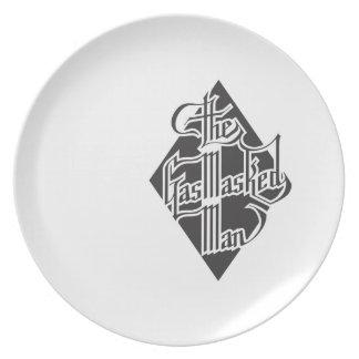 The Gas Masked Man Script logo 2 Dinner Plates