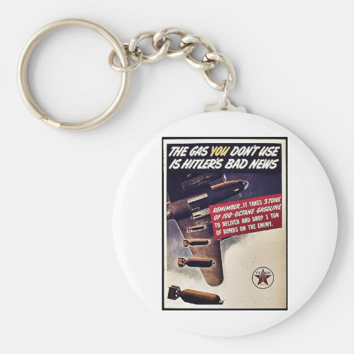 The Gas You Don't Use Is Hitler's Bad News Basic Round Button Keychain