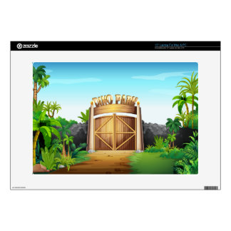 The gate of dino park laptop decal