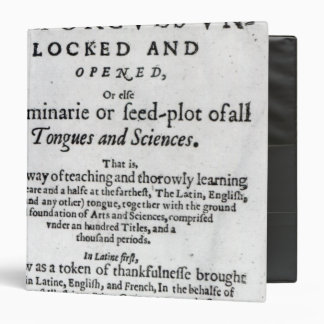 The Gate of Tongues Unlocked', 1631 Binder