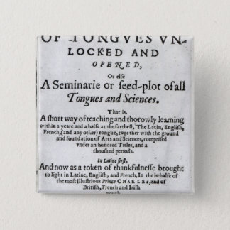 The Gate of Tongues Unlocked', 1631 Pinback Button