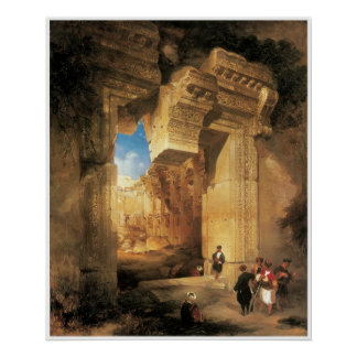 The Gateway of the Great Temple at Baalbek, 1841 Poster