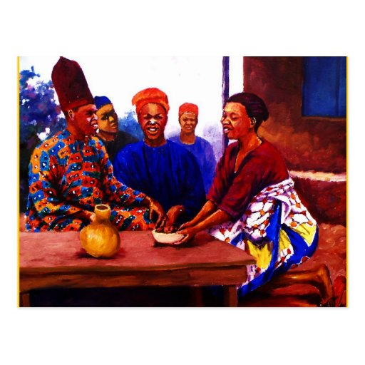 THE GATHERING BY MOJISOLA A GBADAMOSI OKUBULE  OIL POST CARD