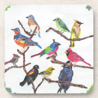 The Gathering Colorful Songbirds Plastic Coasters