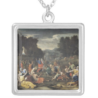 The Gathering of Manna, c.1637-9 Square Pendant Necklace