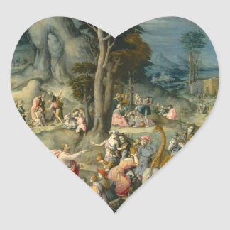 The Gathering of Manna - Francesco Bacchiacca Heart Sticker