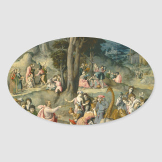 The Gathering of Manna - Francesco Bacchiacca Oval Sticker