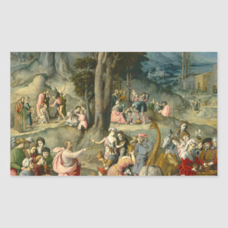 The Gathering of Manna - Francesco Bacchiacca Rectangular Sticker