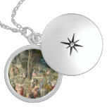 The Gathering of Manna - Francesco Bacchiacca Round Locket Necklace