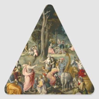 The Gathering of Manna - Francesco Bacchiacca Triangle Sticker