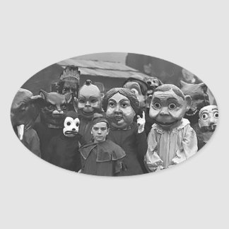The Gathering on Halloween Oval Sticker