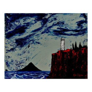 THE GATHERING STORM (large) (lighthouse art) ~ Poster