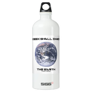 The Geek Shall Inherit The Earth Blue Marble Earth Aluminum Water Bottle