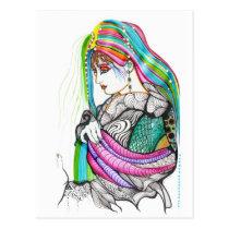 artsprojekt, japan, geisha, woman, oriental, female, artistic, women, beauty, portrait, contemporary, girl, painting, art, Postcard with custom graphic design