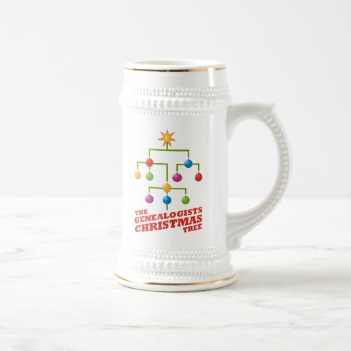 The Genealogists Christmas Tree 18 Oz Beer Stein