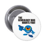 The Genealogy Bug Wants You! Buttons