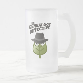 The Genealogy Detective Frosted Glass Beer Mug