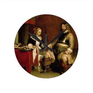 The Gentleman Soldier (oil on canvas) Round Clock