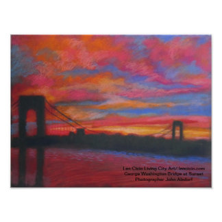 The George Washington Bridge At Sunset Poster