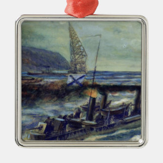 The German u-boat U 56 sunk by Grozovoi Square Metal Christmas Ornament