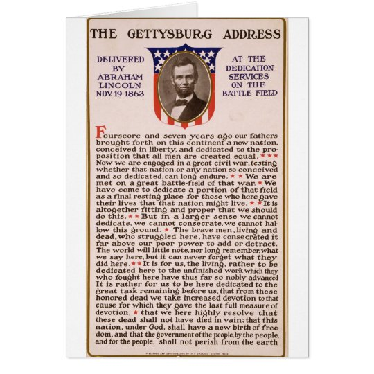 The Gettysburg Address by Abraham Lincoln 1863 Card